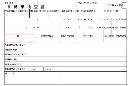 自動車車検証(普通自動車)