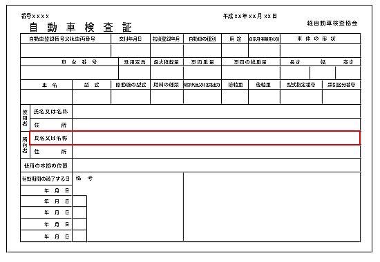 自動車車検証(軽自動車)